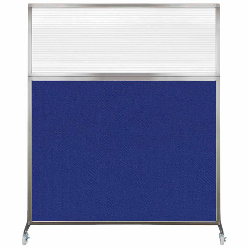 Hush Screen Portable Partition 5' x 6' Royal Blue Fabric Clear Fluted Window With Wheels