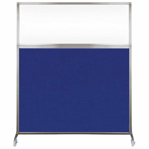 Hush Screen Portable Partition 5' x 6' Royal Blue Fabric Clear Window With Wheels