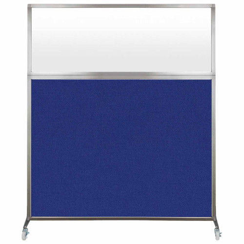 Hush Screen Portable Partition 5' x 6' Royal Blue Fabric Frosted Window With Wheels