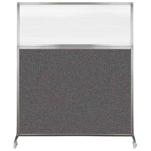 Hush Screen Portable Partition 5' x 6' Charcoal Gray Fabric Clear Fluted Window With Wheels