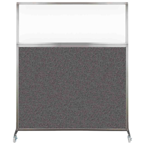 Hush Screen Portable Partition 5' x 6' Charcoal Gray Fabric Clear Window With Wheels