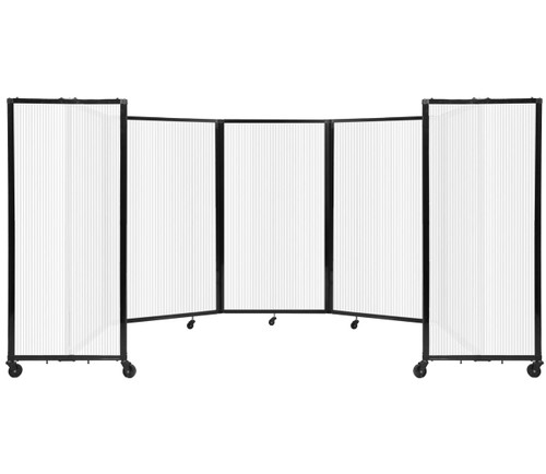 Room Divider 360 Folding Portable Partition 14' x 5' Opal Fluted Polycarbonate