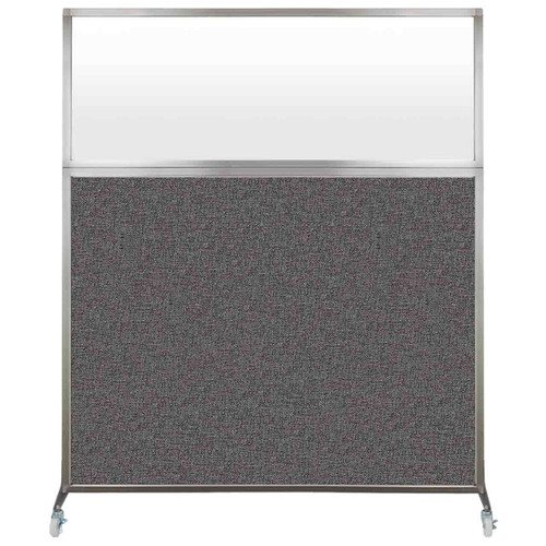 Hush Screen Portable Partition 5' x 6' Charcoal Gray Fabric Frosted Window With Wheels