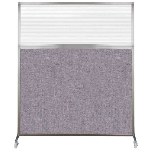 Hush Screen Portable Partition 5' x 6' Cloud Gray Fabric Clear Fluted Window With Wheels
