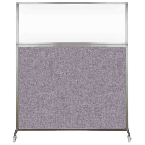 Hush Screen Portable Partition 5' x 6' Cloud Gray Fabric Clear Window With Wheels