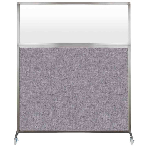 Hush Screen Portable Partition 5' x 6' Cloud Gray Fabric Frosted Window With Wheels