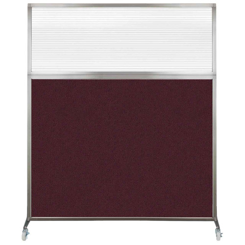 Hush Screen Portable Partition 5' x 6' Cranberry Fabric Clear Fluted Window With Wheels