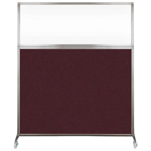 Hush Screen Portable Partition 5' x 6' Cranberry Fabric Clear Window With Wheels