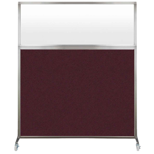 Hush Screen Portable Partition 5' x 6' Cranberry Fabric Frosted Window With Wheels