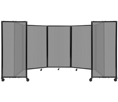 Room Divider 360 Folding Portable Partition 14' x 5' Light Gray Fluted Polycarbonate