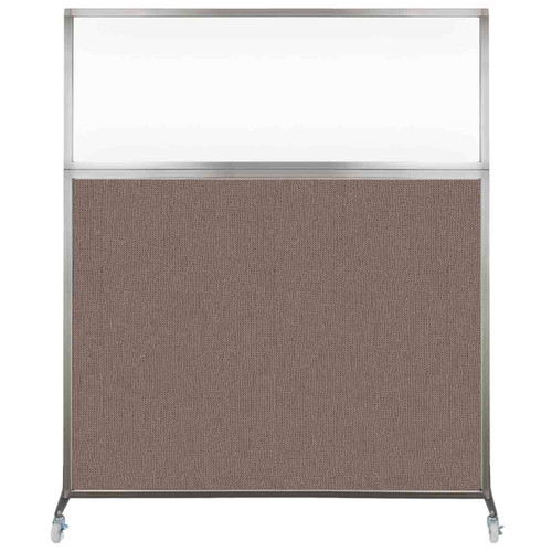 Hush Screen Portable Partition 5' x 6' Latte Fabric Clear Window With Wheels
