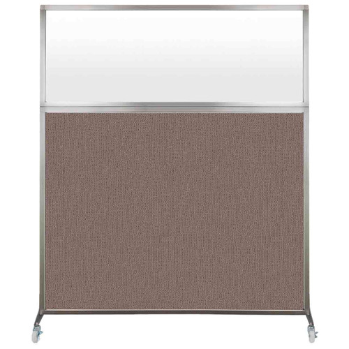 Hush Screen Portable Partition 5' x 6' Latte Fabric Frosted Window With Wheels