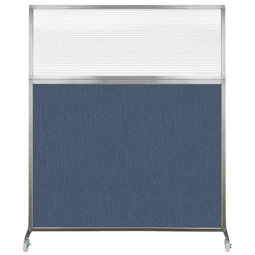 Hush Screen Portable Partition 5' x 6' Ocean Fabric Clear Fluted Window With Wheels