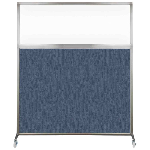 Hush Screen Portable Partition 5' x 6' Ocean Fabric Clear Window With Wheels
