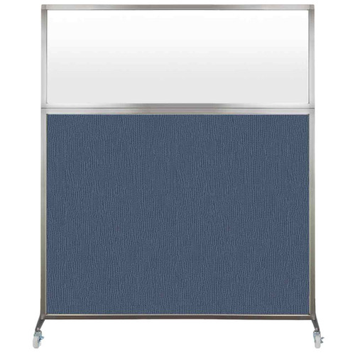 Hush Screen Portable Partition 5' x 6' Ocean Fabric Frosted Window With Wheels
