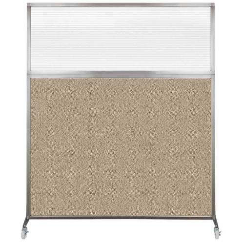 Hush Screen Portable Partition 5' x 6' Rye Fabric Clear Fluted Window With Wheels