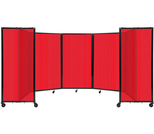 Room Divider 360 Folding Portable Partition 14' x 5' Red Fluted Polycarbonate