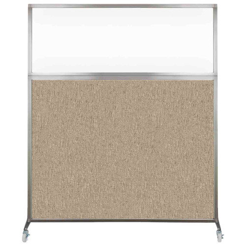 Hush Screen Portable Partition 5' x 6' Rye Fabric Clear Window With Wheels