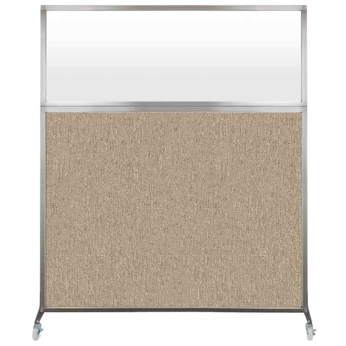 Hush Screen Portable Partition 5' x 6' Rye Fabric Frosted Window With Wheels