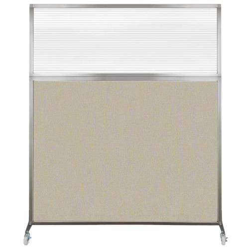 Hush Screen Portable Partition 5' x 6' Sand Fabric Clear Fluted Window With Wheels
