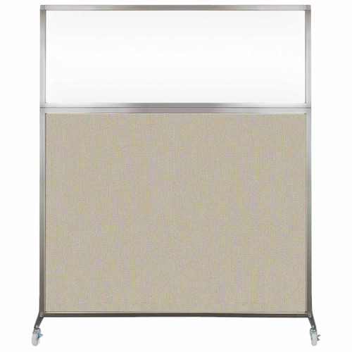 Hush Screen Portable Partition 5' x 6' Sand Fabric Clear Window With Wheels