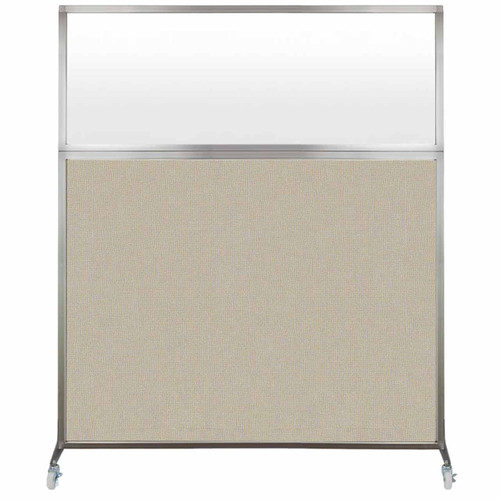 Hush Screen Portable Partition 5' x 6' Sand Fabric Frosted Window With Wheels