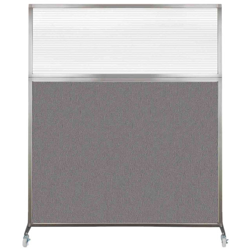 Hush Screen Portable Partition 5' x 6' Slate Fabric Clear Fluted Window With Wheels