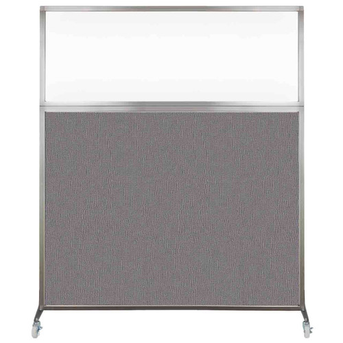 Hush Screen Portable Partition 5' x 6' Slate Fabric Clear Window With Wheels