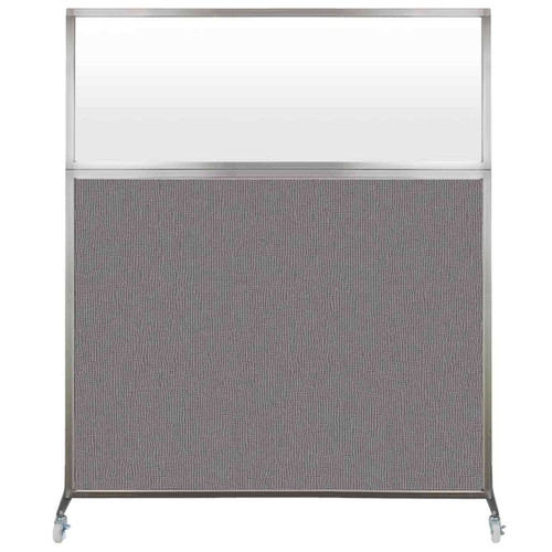 Hush Screen Portable Partition 5' x 6' Slate Fabric Frosted Window With Wheels