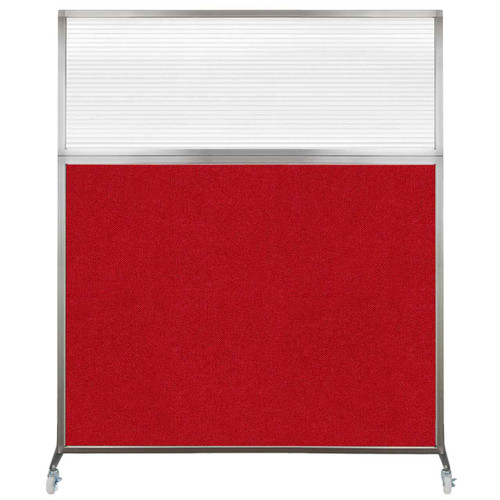 Hush Screen Portable Partition 5' x 6' Red Fabric Clear Fluted Window With Wheels