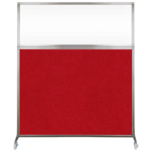 Hush Screen Portable Partition 5' x 6' Red Fabric Clear Window With Wheels