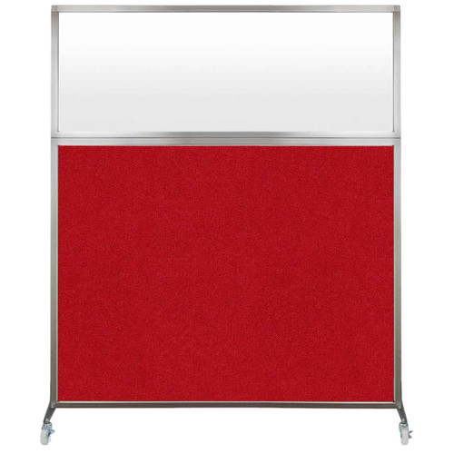 Hush Screen Portable Partition 5' x 6' Red Fabric Frosted Window With Wheels