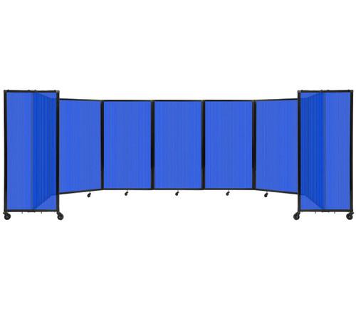 "Room Divider 360 Folding Portable Partition 19'6"" x 5' Blue Fluted Polycarbonate"