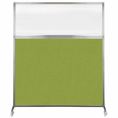 Hush Screen Portable Partition 5' x 6' Lime Green Fabric Clear Fluted Window With Wheels