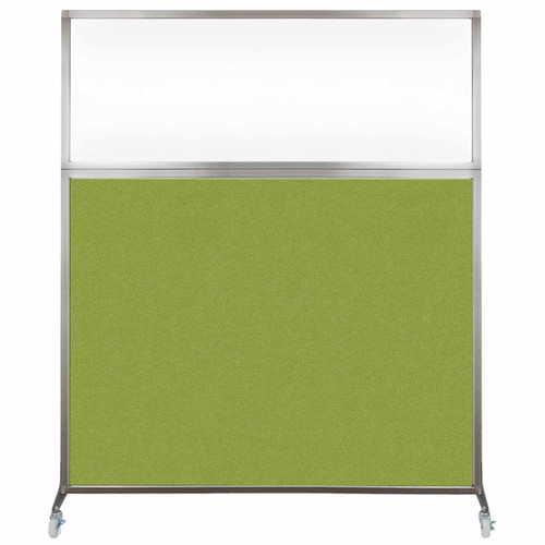 Hush Screen Portable Partition 5' x 6' Lime Green Fabric Clear Window With Wheels
