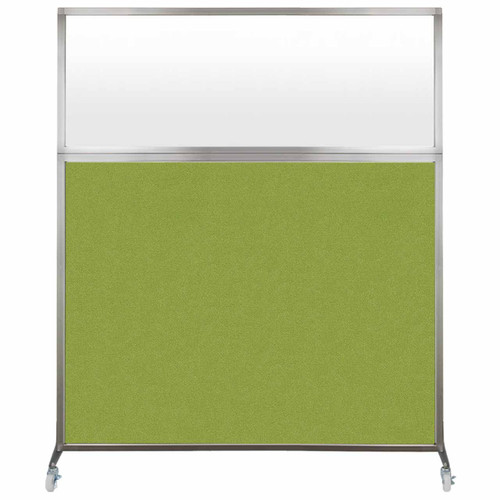 Hush Screen Portable Partition 5' x 6' Lime Green Fabric Frosted Window With Wheels