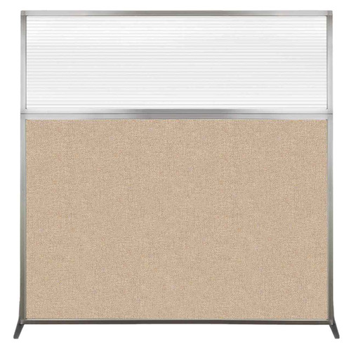 Hush Screen Portable Partition 6' x 6' Beige Fabric Clear Fluted Window Without Wheels