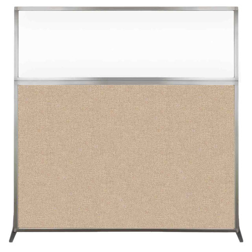 Hush Screen Portable Partition 6' x 6' Beige Fabric Clear Window Without Wheels