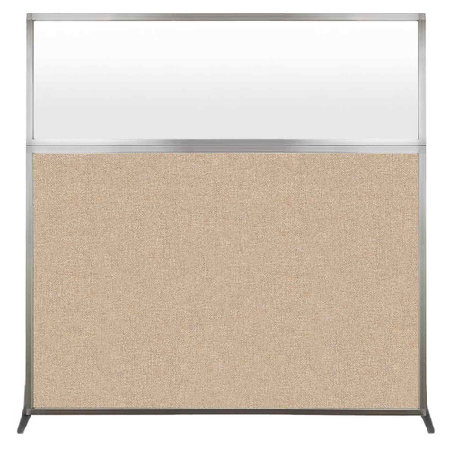 Hush Screen Portable Partition 6' x 6' Beige Fabric Frosted Window Without Wheels