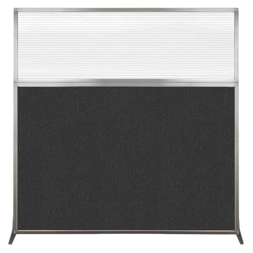 Hush Screen Portable Partition 6' x 6' Black Fabric Clear Fluted Window Without Wheels