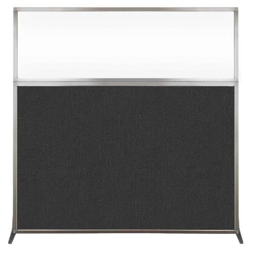 Hush Screen Portable Partition 6' x 6' Black Fabric Clear Window Without Wheels