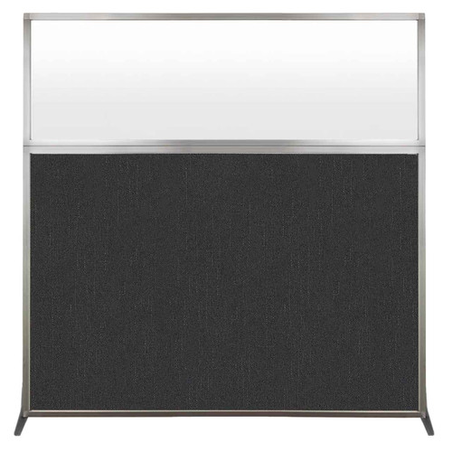 Hush Screen Portable Partition 6' x 6' Black Fabric Frosted Window Without Wheels