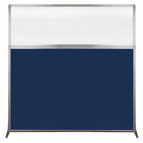 Hush Screen Portable Partition 6' x 6' Navy Blue Fabric Clear Fluted Window Without Wheels