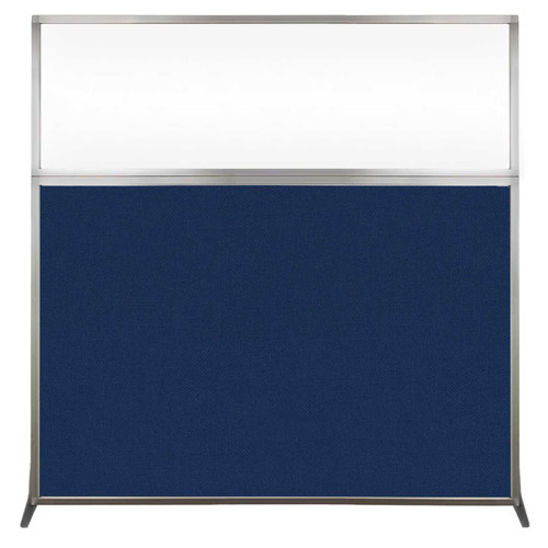Hush Screen Portable Partition 6' x 6' Navy Blue Fabric Clear Window Without Wheels