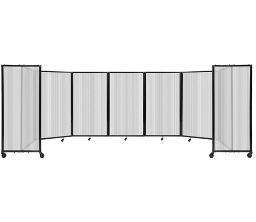 """Room Divider 360 Folding Portable Partition 19'6"""" x 5' Clear Fluted Polycarbonate"""