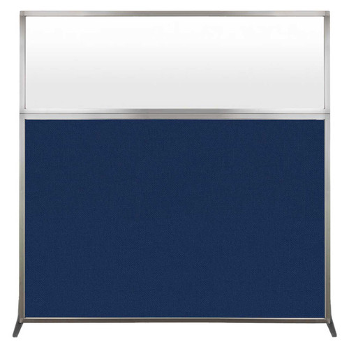 Hush Screen Portable Partition 6' x 6' Navy Blue Fabric Frosted Window Without Wheels