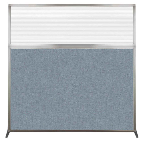 Hush Screen Portable Partition 6' x 6' Powder Blue Fabric Clear Fluted Window Without Wheels