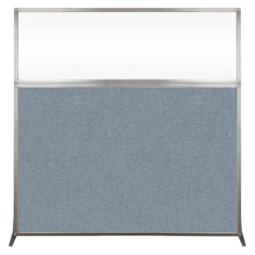 Hush Screen Portable Partition 6' x 6' Powder Blue Fabric Clear Window Without Wheels