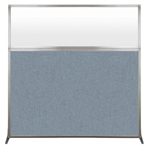Hush Screen Portable Partition 6' x 6' Powder Blue Fabric Frosted Window Without Wheels