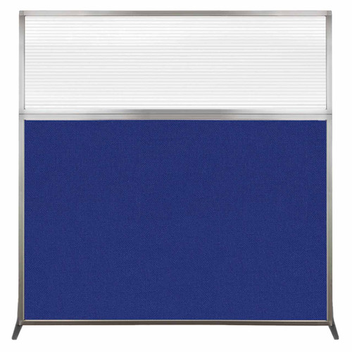 Hush Screen Portable Partition 6' x 6' Royal Blue Fabric Clear Fluted Window Without Wheels